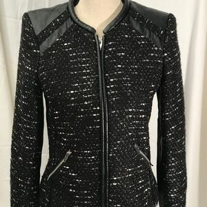 H&M Black White Vegan Leather Women's Blazer 10